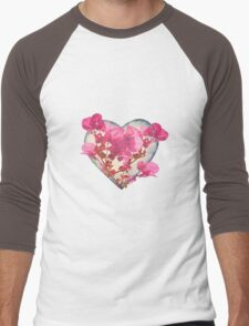 Heart Shaped with Flowers Digital Collage Men's Baseball ¾ T-Shirt