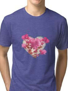 Heart Shaped with Flowers Digital Collage Tri-blend T-Shirt