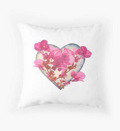 Heart Shaped with Flowers Digital Collage Throw Pillow