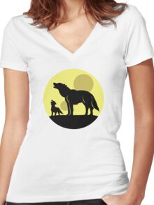 Mother and Wolf Pup Women's Fitted V-Neck T-Shirt