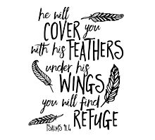 He will Cover You Feathers Bible Verse by marceejean