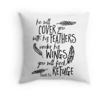He will Cover You Feathers Bible Verse Throw Pillow