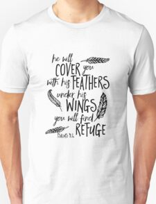 He will Cover You Feathers Bible Verse T-Shirt