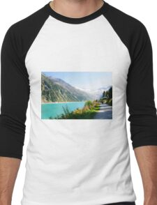 Schlegeis dam and reservoir with the Schlegeis glacierin the background Men's Baseball ¾ T-Shirt