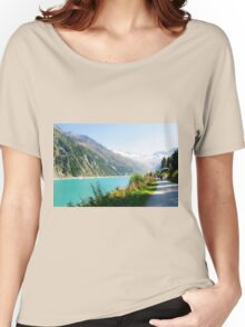 Schlegeis dam and reservoir with the Schlegeis glacierin the background Women's Relaxed Fit T-Shirt