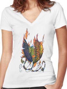 Phoenix Doodle Women's Fitted V-Neck T-Shirt
