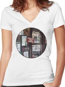 Vintage Advertising Signs Women's Fitted V-Neck T-Shirt