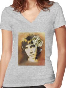 Paper Roses Women's Fitted V-Neck T-Shirt
