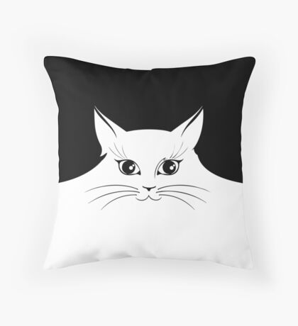 The cat in white Throw Pillow