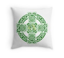 Celtic Shamrock Cross Throw Pillow