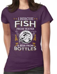 fish and beer Womens Fitted T-Shirt