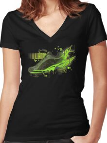 Power Shoe Women's Fitted V-Neck T-Shirt