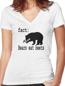 The Office Bears Eat Beets  Women's Fitted V-Neck T-Shirt