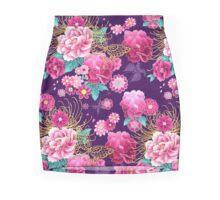 Kimono Design - Purple Peonies Mini Skirt