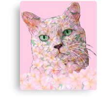 Pink Flower Face Cat Canvas Print