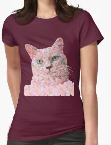 Pink Flower Face Cat Womens Fitted T-Shirt