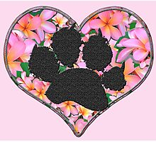 Paw Print in Heart with Flowers Photographic Print