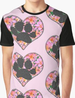 Paw Print in Heart with Flowers Graphic T-Shirt