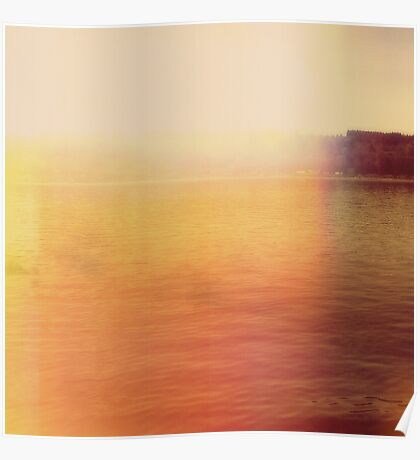 Abstract Modern waterscape, Minimal Sunset Poster