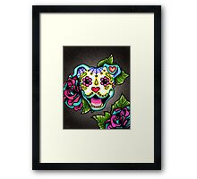 Day of the Dead Smiling Pit Bull Sugar Skull Dog Framed Print