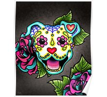 Smiling Pit Bull in White - Day of the Dead Happy Pitbull - Sugar Skull Dog Poster