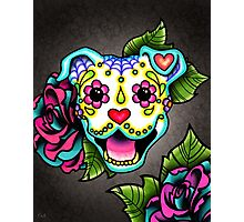 Smiling Pit Bull in White - Day of the Dead Happy Pitbull - Sugar Skull Dog Photographic Print