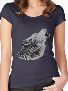 Howling Gray Wolf Women's Fitted Scoop T-Shirt