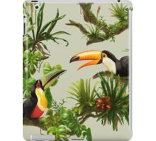 Toucans and bromeliads - canvas background iPad Case/Skin
