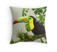 Toucans and bromeliads - canvas background Throw Pillow