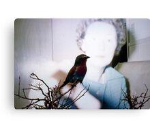 35mm Found Slide Composite - Bird Woman Canvas Print