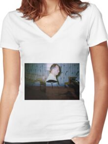 35mm Found Slide Composite - Piano Tree Women's Fitted V-Neck T-Shirt