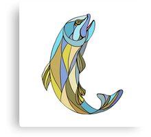 Trout Jumping Up Mosaic Canvas Print