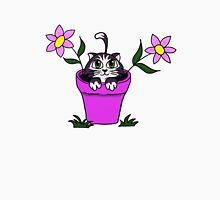 Big Eyed Cartoon Cat in Flower Pot Unisex T-Shirt