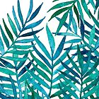 Watercolor Palm Leaves on White by micklyn