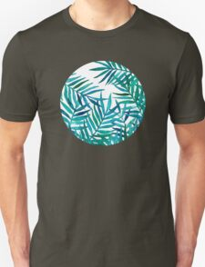 Watercolor Palm Leaves on White T-Shirt