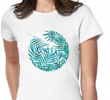 Watercolor Palm Leaves on White Womens Fitted T-Shirt