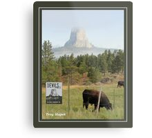 Devils Tower Grazing with Stamp Metal Print