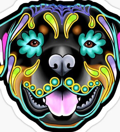 Day of the Dead Rottweiler Sugar Skull Dog Sticker