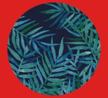 Watercolor Palm Leaves on Navy Kids Clothes