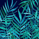 Watercolor Palm Leaves on Navy by micklyn