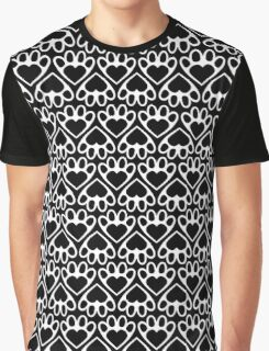 Paw Prints On My Heart in Black Graphic T-Shirt