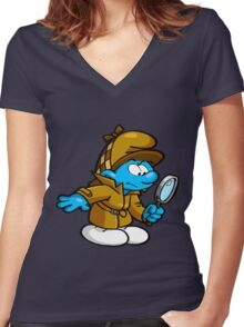 smurf Women's Fitted V-Neck T-Shirt