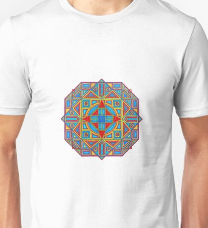 Geometrical Mandala in Yellow Red Blue Unisex T-Shirt