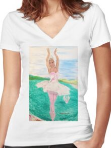 Dancing Swans Women's Fitted V-Neck T-Shirt