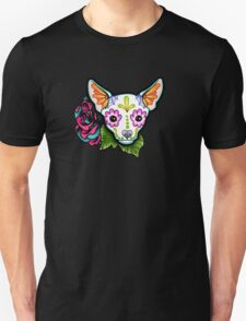 Day of the Dead Chihuahua in White Sugar Skull Dog Unisex T-Shirt