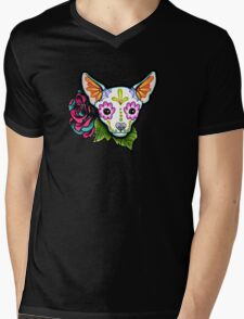 Day of the Dead Chihuahua in White Sugar Skull Dog Mens V-Neck T-Shirt