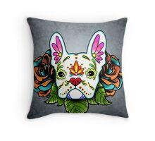 Day of the Dead French Bulldog in White Sugar Skull Dog Throw Pillow
