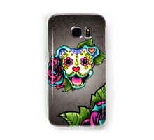 Smiling Pit Bull in White - Day of the Dead Happy Pitbull - Sugar Skull Dog Samsung Galaxy Case/Skin