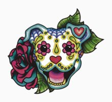 Day of the Dead Smiling Pit Bull Sugar Skull Dog One Piece - Short Sleeve