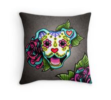 Smiling Pit Bull in White - Day of the Dead Happy Pitbull - Sugar Skull Dog Throw Pillow